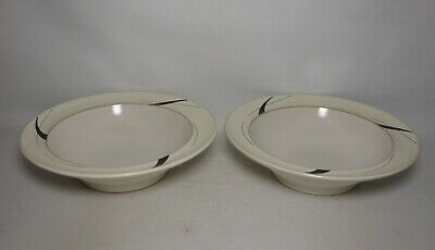 2 X DENBY OYSTER STRANDS 9  RIMMED PASTA BOWLS IN EXCELLENT CONDITION • 21.50£