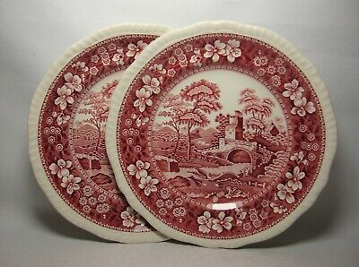 2 X SPODE ~ SPODE'S TOWER ~ PINK 7 5/8  SALAD PLATES IN VERY GOOD CONDITION  • 16.50£