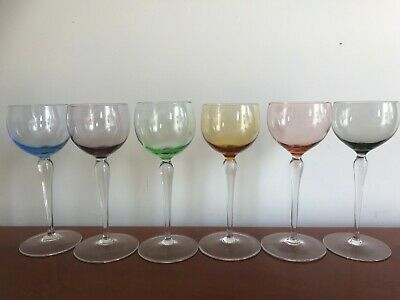 Vintage - Retro  Harlequin Set Hock Wine Glasses X 6  • 25£