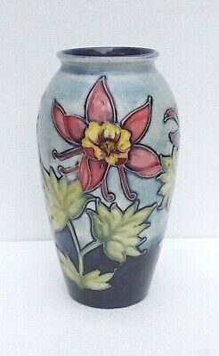 A Vintage Walter Moorcroft  Columbine Vase With A Rare Fading Blue Background. • 130£