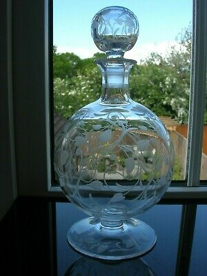 Antique - Engraved Small Decanter - Original Matching Stopper - C1900 • 42£
