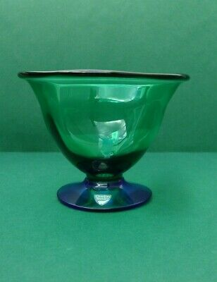 Large Orrefors Erika Lagerbielke Louise Green & Blue Footed Glass Bowl • 45£