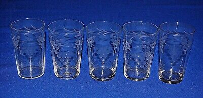 Vintage Set Of 5 Cut Glass Tumblers Grape Design, C 1950's 11cms In Height.  • 12.99£