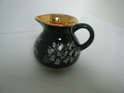 Prinknash Pottery England Small Cream Milk Jug Gold  Black Floral  • 6£