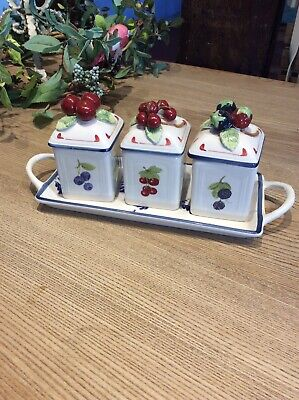 Villeroy & Boch Cottage Charm  Set Of 3 Jam Preserve Pots + Tray • 16£