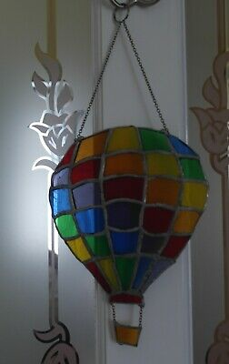Handmade Stained Glass Rainbow Hot Air Balloon.  Good Condition • 13.49£