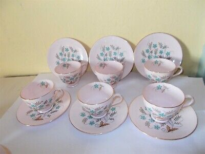 6 Old Tuscan Teacups & Saucers Blue Star Floral Design English Bone China   • 4.99£