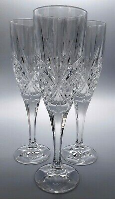 X3 Royal Doulton Clear Cut Crystal CIDESE Champagne Flutes Stemware Drinkware • 32.95£