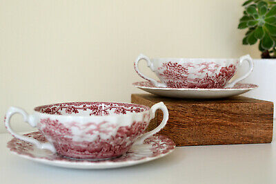 Myotts England  Country Life  Soup Bowl With Plate X 2 • 9.99£