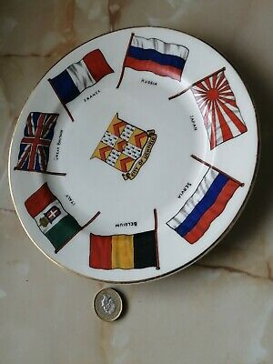 Goss China Plate, WW1 Flags Of The Allies, With A LICHFIELD Crest At The Centre. • 16£