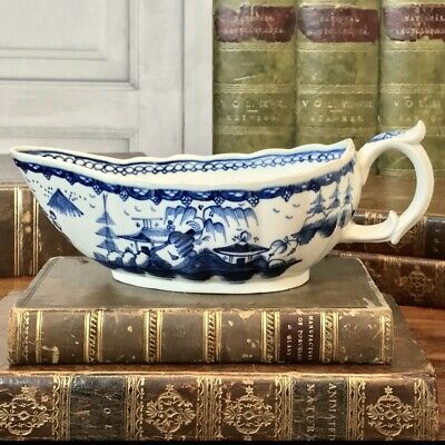 C18th English Pearlware Chinoiserie Sauceboat, C1790. • 110£
