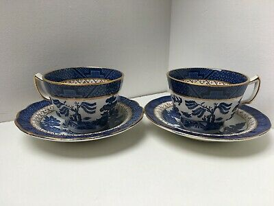 *Vintage/Retro Booths Real Old Willow Set Of 2 Tea Cups & Saucers With Gold Trim • 14.95£