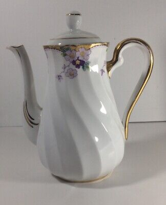 Vintage Approx 1950s Tuscan Fine English Bone China Violets Floral Coffee Pot • 5.99£