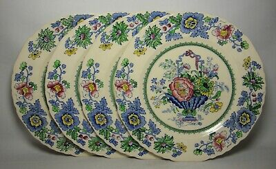 4 X MASONS STRATHMORE ~ BLUE & PINK 8 3/4  SALAD PLATES IN VERY GOOD CONDITION • 30.50£