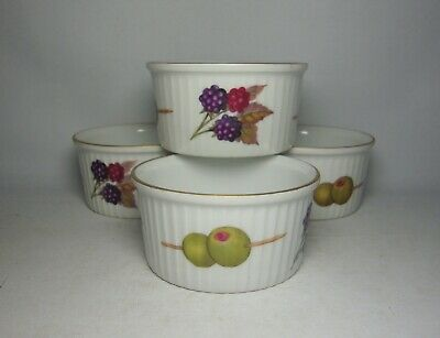 4 X ROYAL WORCESTER EVESHAM GOLD RAMEKINS IN VERY GOOD CONDITION • 14.50£
