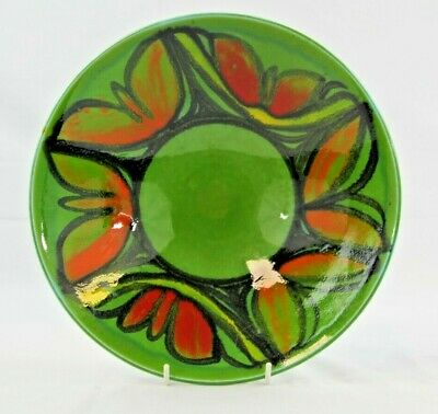 Poole Pottery Delphis Bowl Shape 57 In Orange/yellow On Green Ground 10 1/2   • 20£