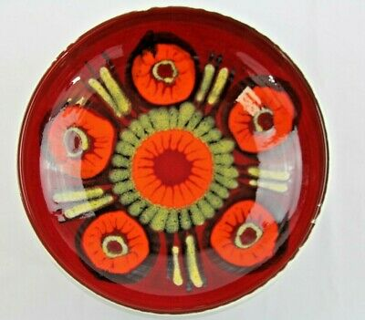Poole Pottery Delphis Bowl Shape 89 In Orange/green/yellow On Red Ground 10  Dia • 25£