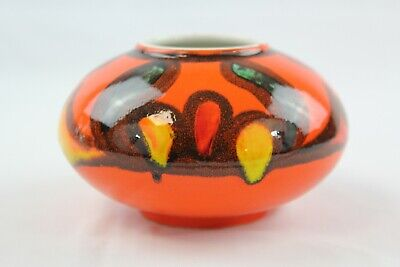Poole Pottery Delphis Bowl Shape 32 In Red/green On Orange Ground 7   • 20£