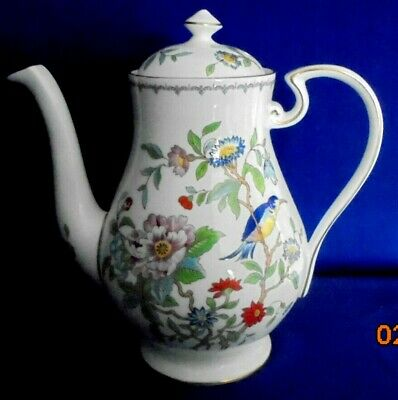 Aynsley Pembroke Lidded/Labelled Bone China Coffee Pot (H 8.75 ) Bird /Floral  • 99.99£
