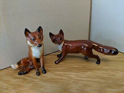 2 Lovely Fox Ornaments From Beswick England • 3£