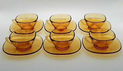 VERECO GLASS SET OF 6 Vintage Retro Amber Glass Coffee Cups & Saucers  • 14.95£