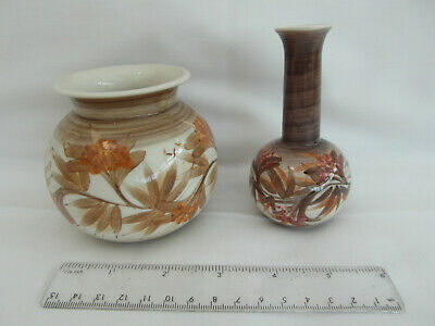 2 Small Vintage Jersey Pottery Hand Painted Vases. Same Leaf & Berry Design • 3.50£