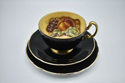 AYNSLEY ORCHARD FRUIT BLACK/GOLD Cup ~ TRIO With Delphine Saucer And Side Plate. • 0.99£