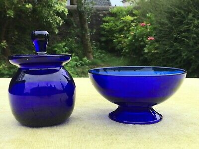 Pretty Vintage Cobalt Blue Glass Footed Bowl And Lidded Pot • 20£
