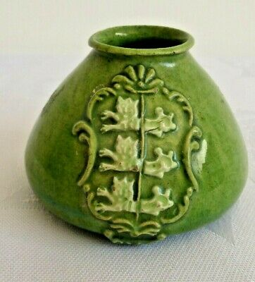 Rare Old Green Rye Pottery 'Three Lions' Design. Small 4 Cms Tall. Chip To Rim. • 40£