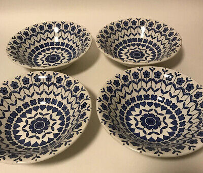 Barratts Blue & White Pottery Rare Hearts And Flowers  Cereal Bowl X4 Vintage • 35£