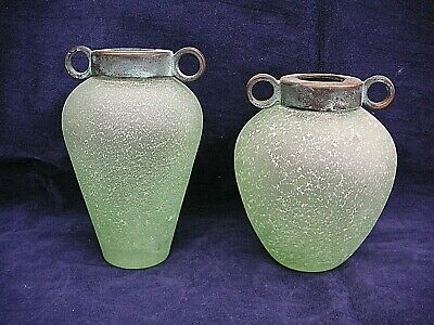 2 X Amphora Glass Frosted Green Vintage Rare Vases • 22.99£
