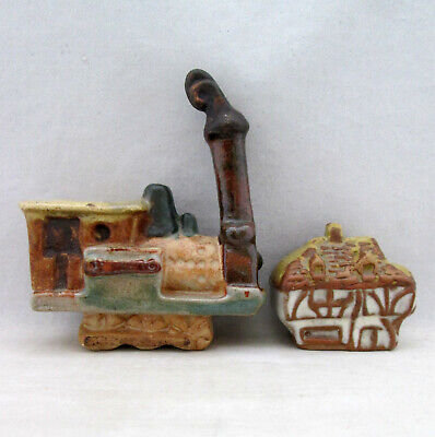 Vintage Tremar Pottery 2 Small Models, Steam Train, Cottage • 1.99£