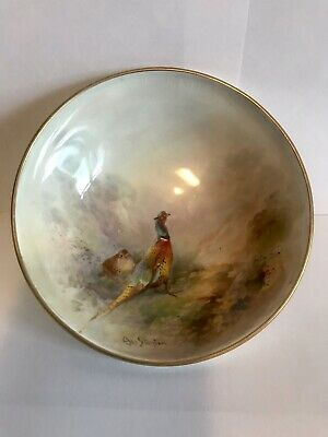 Royal Worcester Hand Painted Dish By James Stinton - Pheasants In Mist • 125£