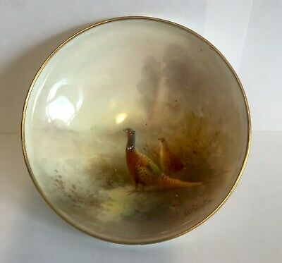 Royal Worcester Hand Painted Dish By James Stinton - Pheasants In Mist • 175£
