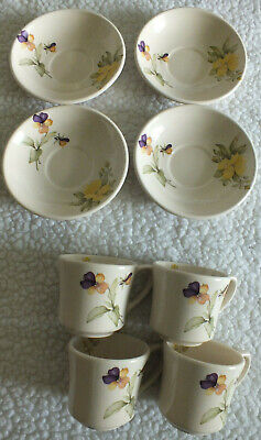 4 Teacups & Saucers Kernewek Pottery Pansy Viola Flower - COLLECTION CORNWALL • 7.99£