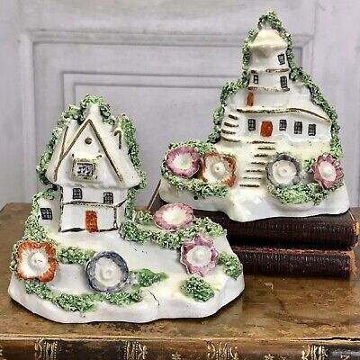 Staffordshire Miniature Windmill And Cottage Ornaments, Pair. Circa 1840. • 110£