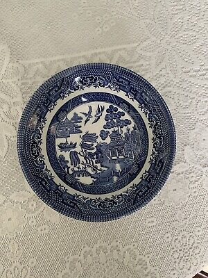 """4 X Vintage Churchill England Blue Willow Pattern 6""""Desert/Pudding/Cereal Bowls • 4£"""