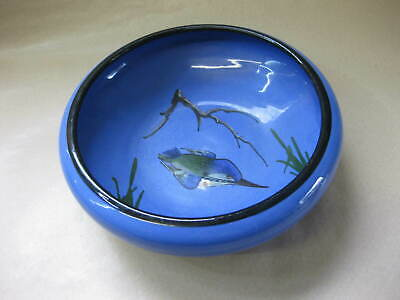 Vintage Watcombe Pottery Bowl ~ Blue With Kingfisher Decoration ~ Torquay • 15.99£