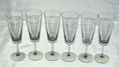 Wedgwood Crystal Set 6 Rebecca Smoke Champagne Glasses. 18cms In Height. Signed. • 39.99£