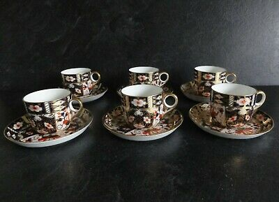 Royal Crown Derby Imari 2451 Coffee Cups & Saucers - Set Of 6 • 87.50£