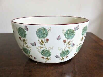Oval Ceramic Planter With Green Roses And Butterfly Pattern • 9£