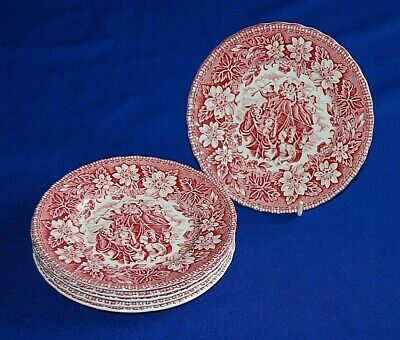 Royal Tudor Ware Set 6 Coaching Taverns Side Plates, Pink 6.25 , Qty Available • 11.99£