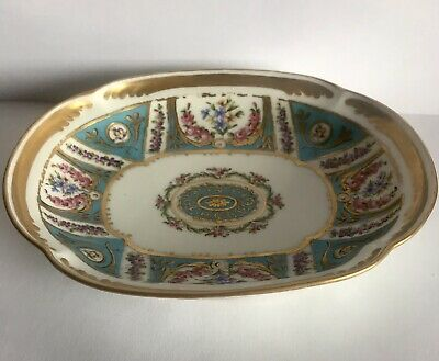 C18th Sevres Hand Painted Dish Decorated With Flowers And Gilding • 75£