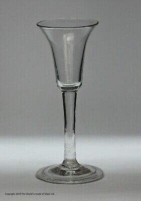 Georgian Plain Stem Wine Glass, Bell Bowl, Folded Foot • 125£