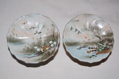Two Chinese Hand Painted Tazza/Sweet Dishes Birds/Lake Scene. Used Condition. • 19.99£