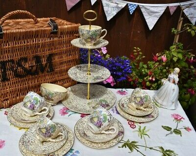 Vintage Kitch Lilac Crinoline Lady Mad Hatter Tea Set & Cake Stand & 4 Trio's    • 38£