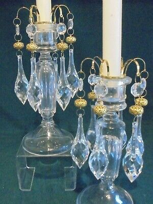 Pair Of Edwardian Glass Candlesticks Dated C1910 • 32£