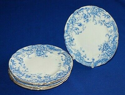Antique Set 6 Blue & White Floral China Side Plates, 16cms, Late Victorian.  • 9.99£