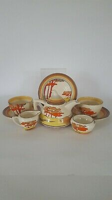 Clarice Cliff Coral Firs Pattern Tea For Two Set  • 950£