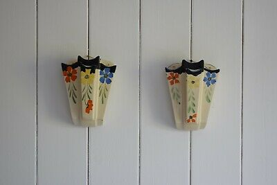 Art Deco Floral Wall Pockets Vases By Arthur Wood, Wall Vases, Wall Pocket, Deco • 90£